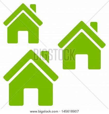 Village Buildings icon. Vector style is flat iconic symbol, eco green color, white background.