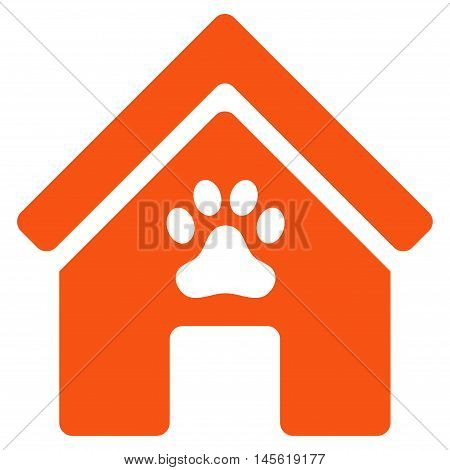 Doghouse icon. Vector style is flat iconic symbol, orange color, white background.