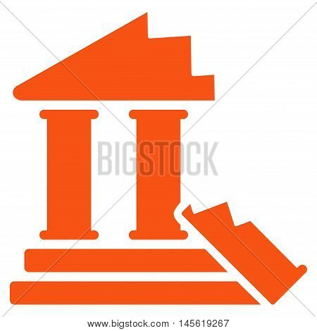 Historic Ruins icon. Vector style is flat iconic symbol, orange color, white background.