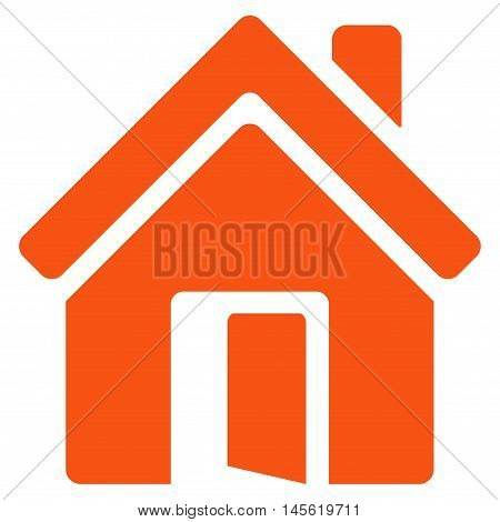 Open House Door icon. Vector style is flat iconic symbol orange color white background.