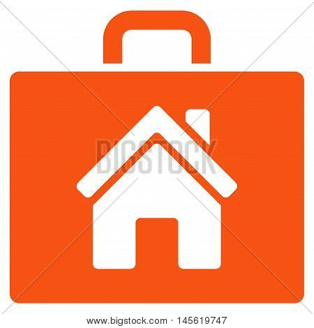 Realty Case icon. Vector style is flat iconic symbol orange color white background.
