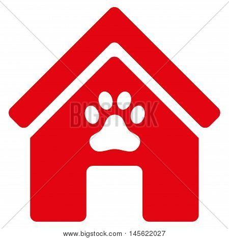 Doghouse icon. Vector style is flat iconic symbol, red color, white background.