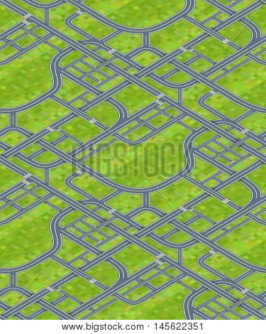 A lot of different road junctions on grass background, isometric seamless pattern