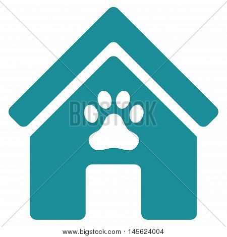 Doghouse icon. Vector style is flat iconic symbol, soft blue color, white background.