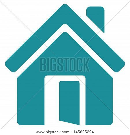 Open House Door icon. Vector style is flat iconic symbol, soft blue color, white background.