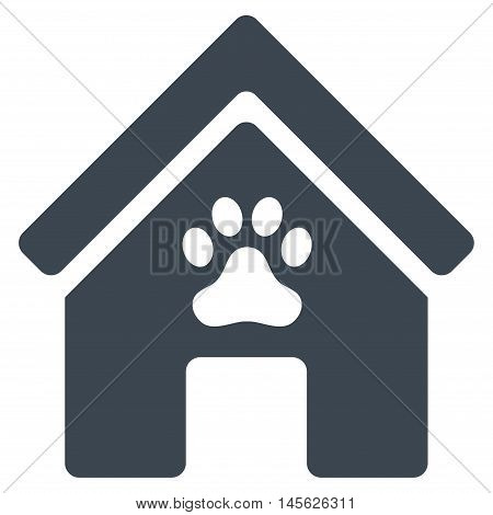 Doghouse icon. Vector style is flat iconic symbol, smooth blue color, white background.