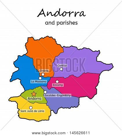 Andorra administrative map with parishes on white