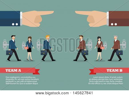 Infographic of mechanical business men and women was controlled by big hand. Business competition concept