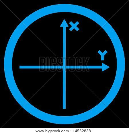 Cartesian Axis vector rounded icon. Image style is a flat icon symbol inside a circle, blue color, black background.