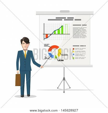 Businessman standing near whiteboard and pointing on the chart of finance analytics, flat illustration isolated on white