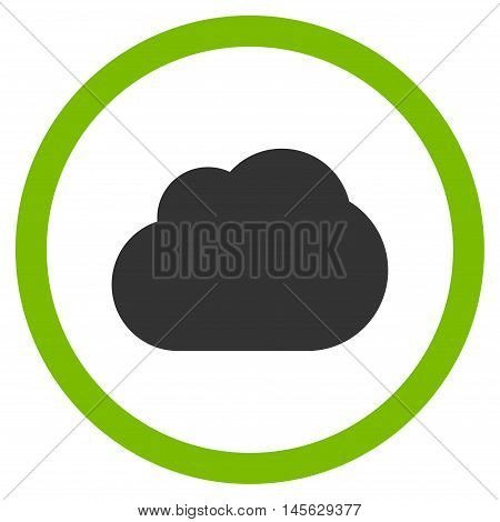Cloud vector bicolor rounded icon. Image style is a flat icon symbol inside a circle, eco green and gray colors, white background.