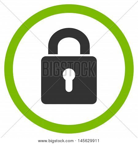 Lock Keyhole vector bicolor rounded icon. Image style is a flat icon symbol inside a circle, eco green and gray colors, white background.