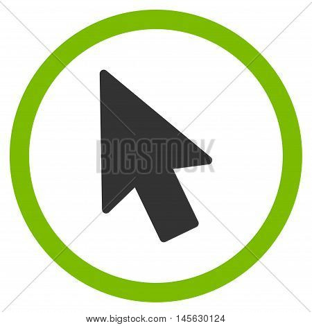 Mouse Pointer vector bicolor rounded icon. Image style is a flat icon symbol inside a circle, eco green and gray colors, white background.