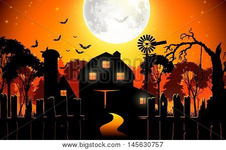 Halloween background with scary farmhouse in the woods