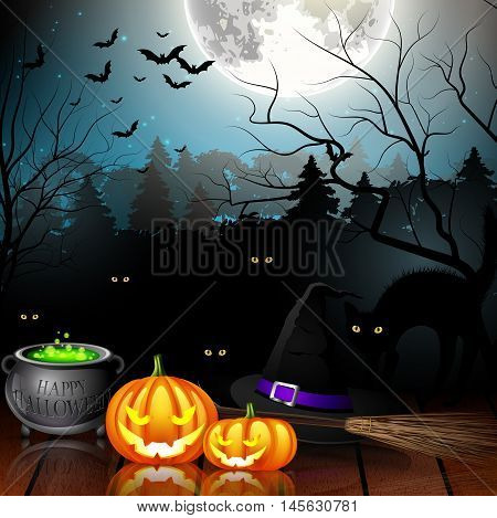 Halloween party background with pumpkins, hat, pot and broom in spooky forest
