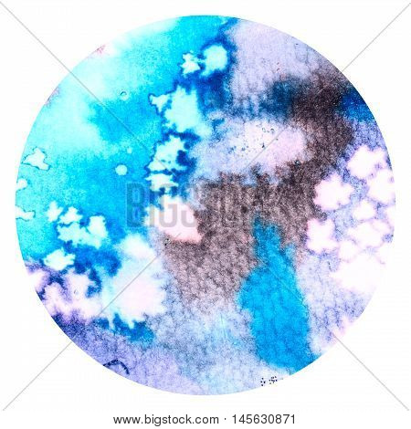 Abstract blue colorful watercolor wash with the salt technique round sticker.
