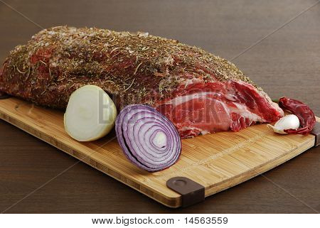 Whole Piece Of Raw  Meat With Spices Ready For Cooking