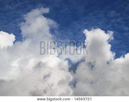 Weather Pattern Cumulus Clouds Below Blue Mackerel Sky