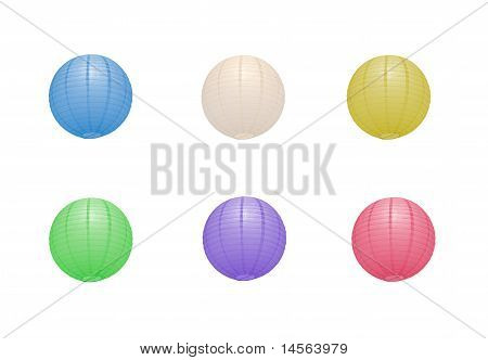 Multiple Paper Lanterns In Different Colors