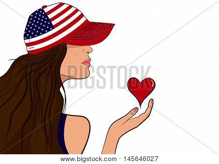 USA patriot girl with a heart. Girl in baseball cap with USA flag. Patriot day. Independence day.