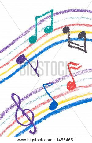 Colorful Music Notation Drawing On White