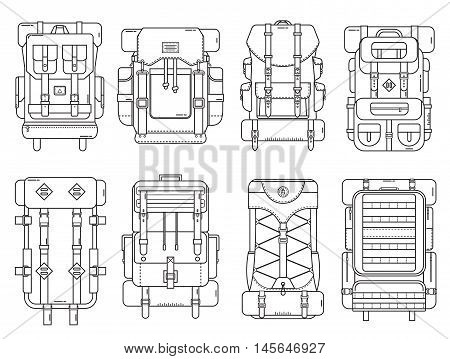 Hiking backpack set in thin line design. Tourist retro backpacks outline vector illustration. Classic styled camping backpacks with sleeping bags. Different back pack collection for hike and tourism.