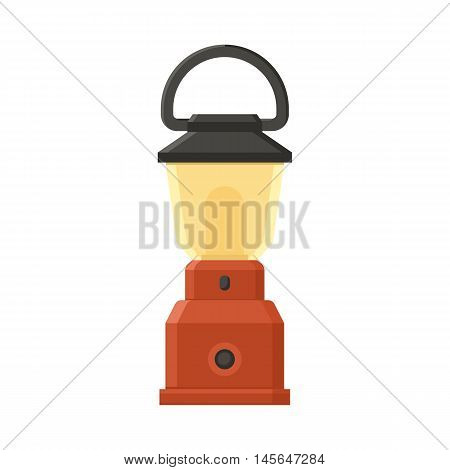 Vintage camping lantern isolated on white background. Modern lamp with glowing fire wick. Diode tourist lantern vector illustration. Old lamp for hiking.