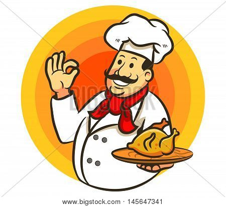 A vector illustration of chef cooking fried chicken.
