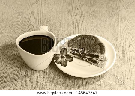 Black coffee and Bread stuffed with red beans,Vintage Style