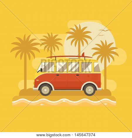Surfing bus on palm beach poster. Camper minivan summertime concept. Travel van old vintage red color with surfing board on sea coast. Tourist surf bus on tropical island background.