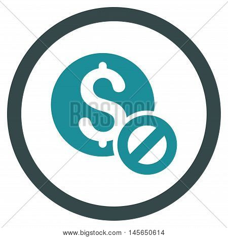 Free of Charge vector bicolor rounded icon. Image style is a flat icon symbol inside a circle, soft blue colors, white background.