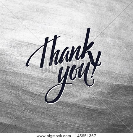 Metallic foil shining calligraphy Thank You poster. Vector Gold Print Paint Stain Design