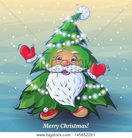 Vector funny cartoon image of Santa Claus as a Christmas tree. Smiling Santa affably waving his arms like a Christmas tree decorated with garlands on a background of falling snow.
