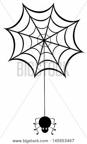 vector illustration of a spider web with spider