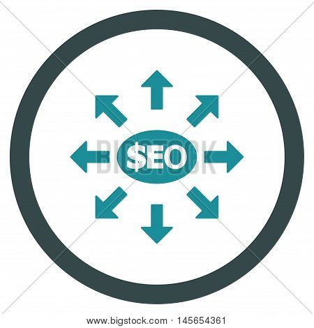 Seo Marketing vector bicolor rounded icon. Image style is a flat icon symbol inside a circle, soft blue colors, white background.
