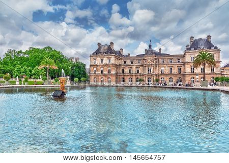 Paris, France - July 05, 2016 : Luxembourg Palace And Park In Paris, The Jardin Du Luxembourg, One O
