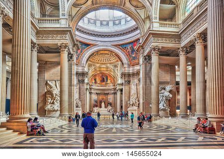 Paris, France - July 05, 2016 : Inside, Interior Of French Mausoleum For Great People Of France - Th
