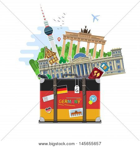Concept of travel to Germany or studying German. German flag with landmarks in suitcase. Time to travel. Flat design, vector illustration