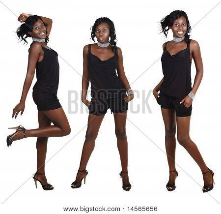 Drei Posen der afrikanische Frau mit langen Haaren