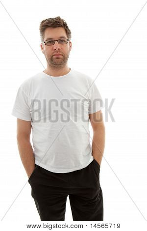 Unshaved Man Looking Into Camera