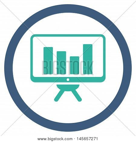 Bar Chart Monitoring vector bicolor rounded icon. Image style is a flat icon symbol inside a circle, cobalt and cyan colors, white background.
