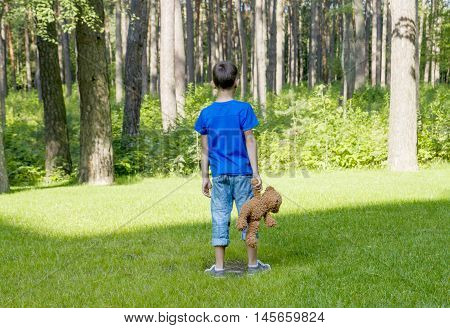 Sad childy is holding a brown teddy bear and standing on the meadow. Back view. adness fear frustration loneliness concept