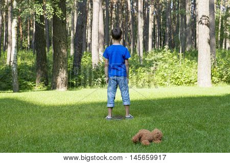 Sad child standing on the meadow. Brown teddy bear behind him. Forest or park background. Sunny day. Sadness, fear, frustration, loneliness concept