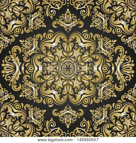 Oriental classic pattern. Seamless abstract background with repeating elements. Black and golden patter
