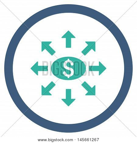 Mass Cashout vector bicolor rounded icon. Image style is a flat icon symbol inside a circle, cobalt and cyan colors, white background.