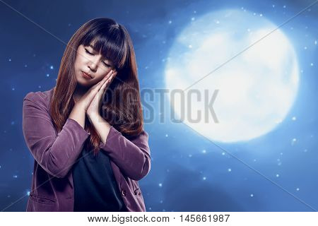 Asian Young Woman With Sleepy Gesture