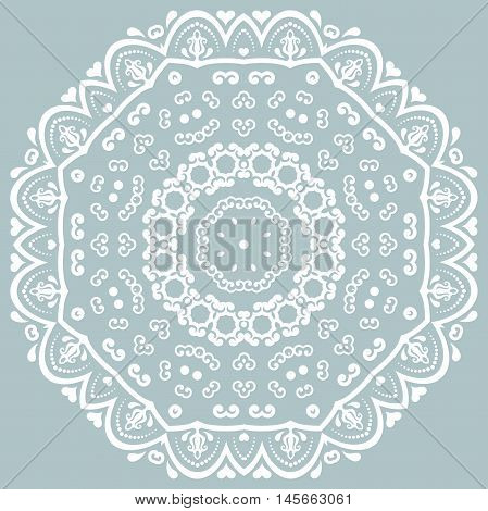 Oriental pattern with arabesques and floral elements. Traditional classic ornament. Light blue and white pattern