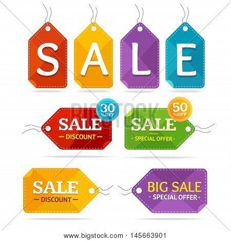 Clothes Sale Labels Set. Special Offer. Vector illustration