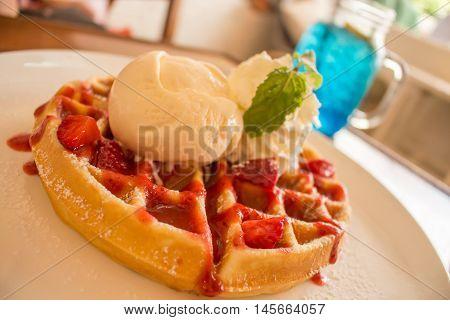 Sweet desert, Icecream and strawbwrry on waffle