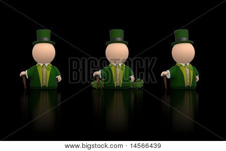 irische Symbol Person für St Patricks Tag schwarze Version Render